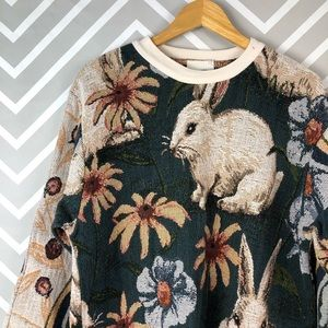Vintage Easter Bunny Printed Sweater One Size